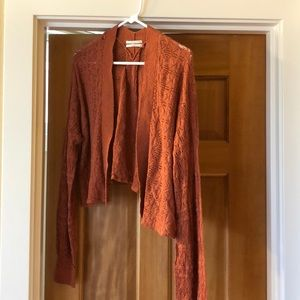 Anthropologie burnt orange cardigan